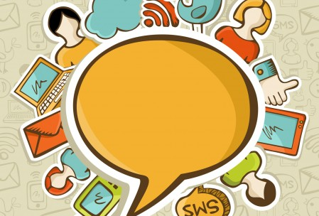 Social networks icons around the speech bubble over seamless pattern. Vector illustration layered for easy manipulation and custom coloring.
